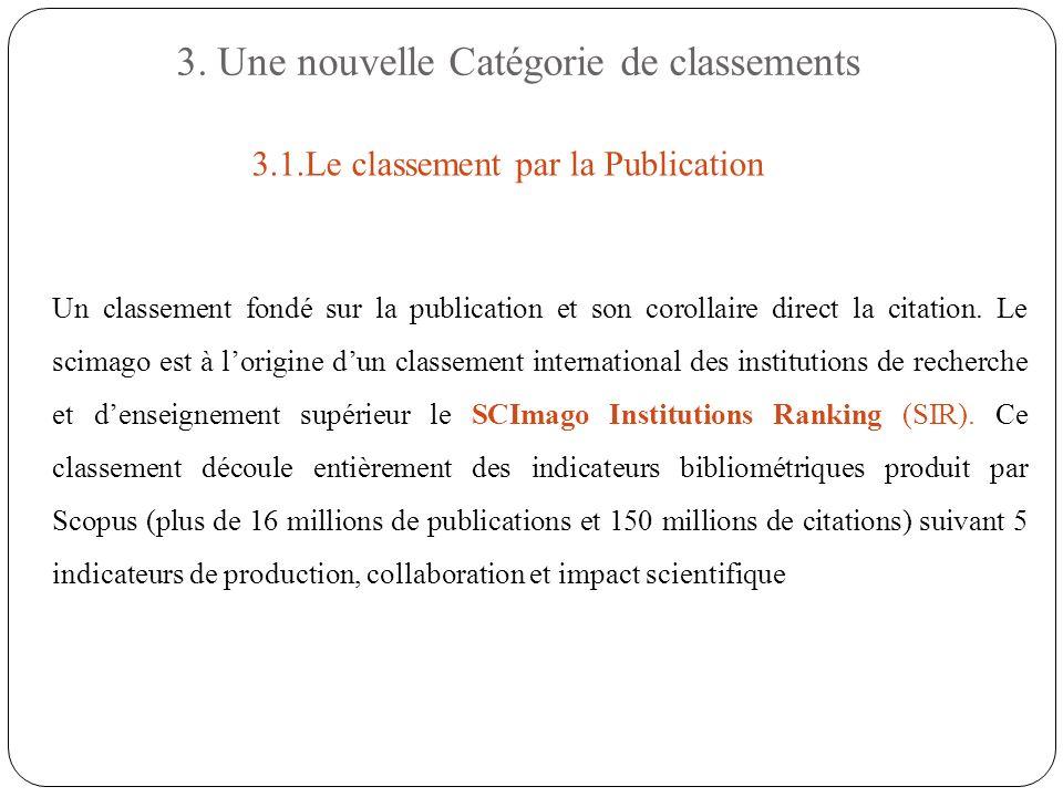 3. Une nouvelle Catégorie de classements Un classement fondé sur la publication et son corollaire direct la citation. Le scimago est à lorigine dun cl