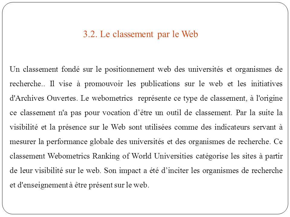 3.2. Le classement par le Web Un classement fondé sur le positionnement web des universités et organismes de recherche.. Il vise à promouvoir les publ