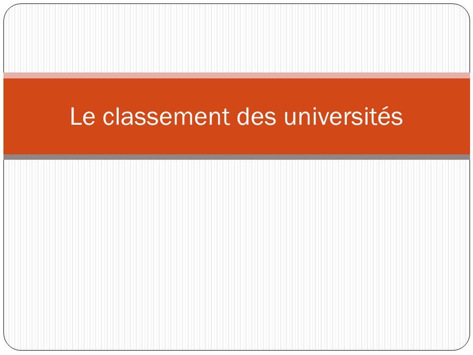 Le classement des universités