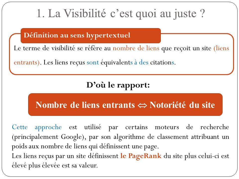 Le terme de visibilité se réfère au nombre de liens que reçoit un site (liens entrants). Les liens reçus sont équivalents à des citations. 1. La Visib