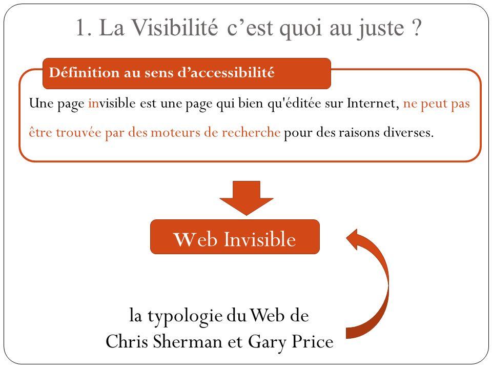 Une page invisible est une page qui bien qu'éditée sur Internet, ne peut pas être trouvée par des moteurs de recherche pour des raisons diverses. 1. L