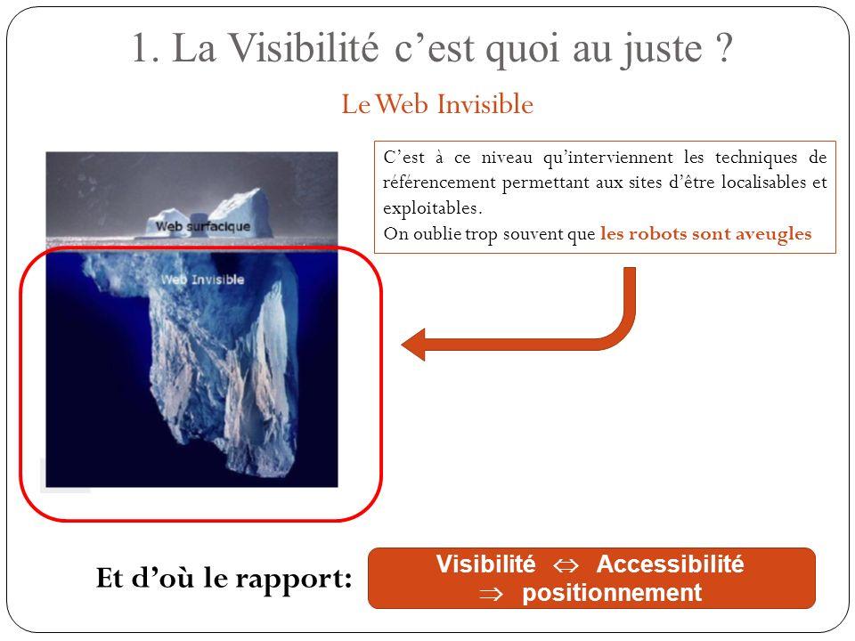 1. La Visibilité cest quoi au juste ? Le Web Invisible Cest à ce niveau quinterviennent les techniques de référencement permettant aux sites dêtre loc