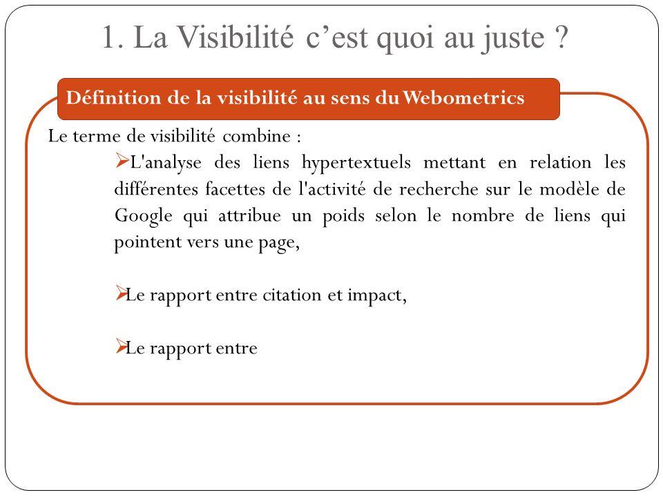 Le terme de visibilité combine : L'analyse des liens hypertextuels mettant en relation les différentes facettes de l'activité de recherche sur le modè