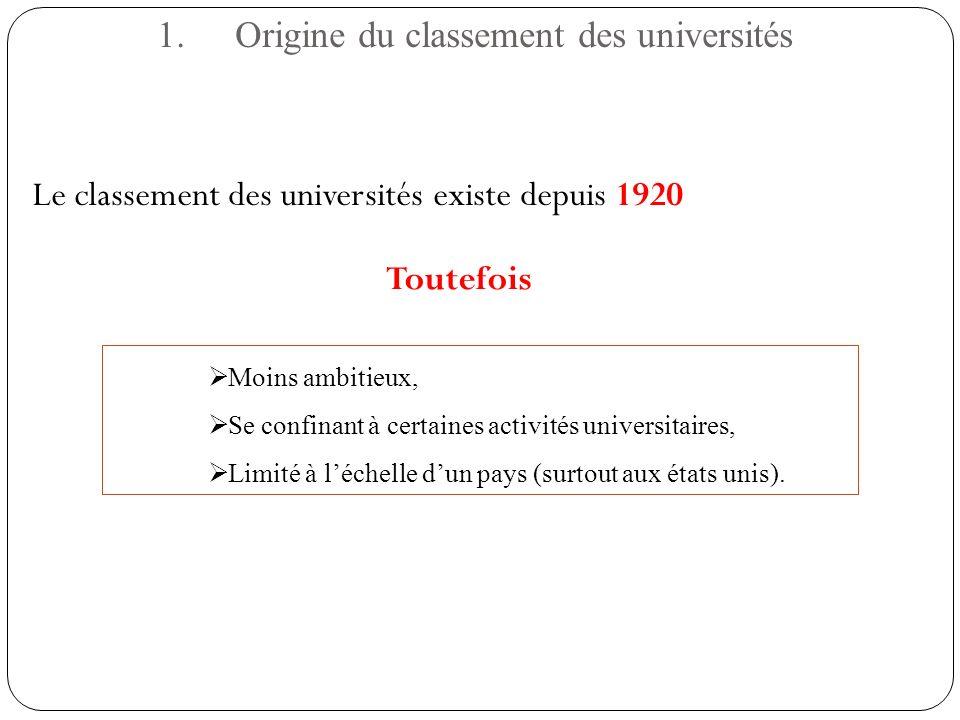 1.Origine du classement des universités Le classement des universités existe depuis 1920 Moins ambitieux, Se confinant à certaines activités universit