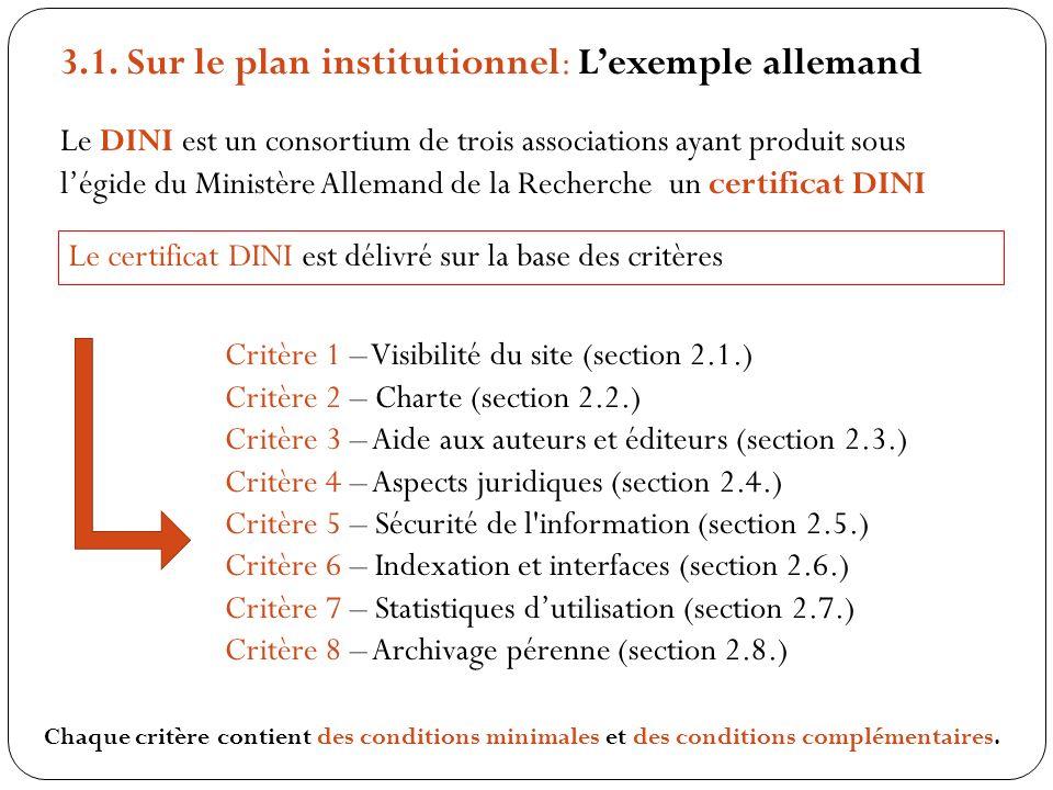 3.1. Sur le plan institutionnel: Lexemple allemand Le DINI est un consortium de trois associations ayant produit sous légide du Ministère Allemand de