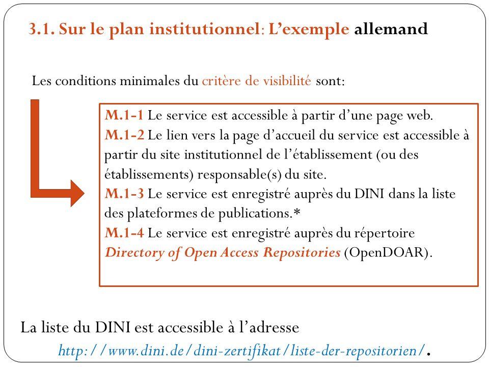 Les conditions minimales du critère de visibilité sont: M.1-1 Le service est accessible à partir dune page web. M.1-2 Le lien vers la page daccueil du