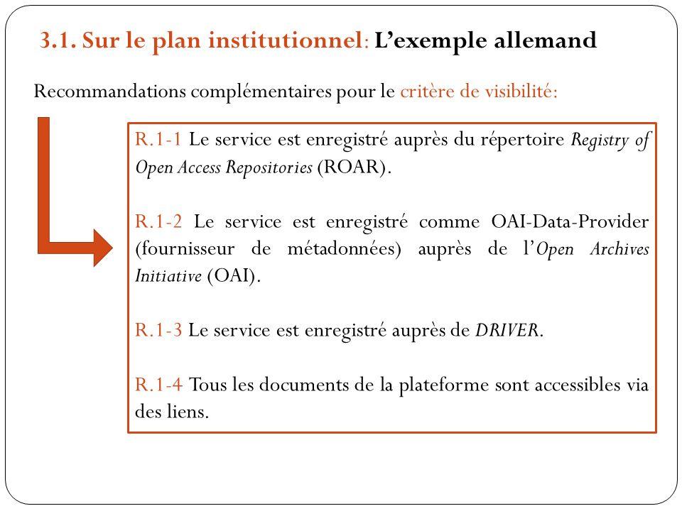 Recommandations complémentaires pour le critère de visibilité: R.1-1 Le service est enregistré auprès du répertoire Registry of Open Access Repositori