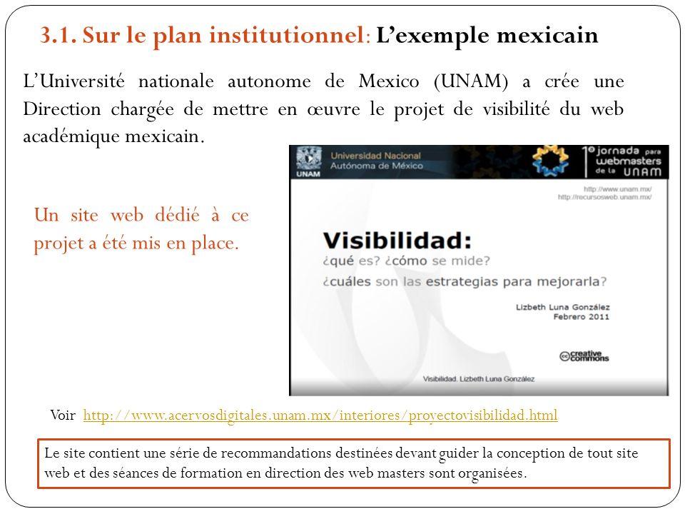 3.1. Sur le plan institutionnel: Lexemple mexicain LUniversité nationale autonome de Mexico (UNAM) a crée une Direction chargée de mettre en œuvre le