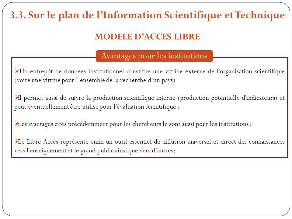 3.3. Sur le plan de lInformation Scientifique et Technique MODELE DACCES LIBRE Un entrepôt de données institutionnel constitue une vitrine externe de