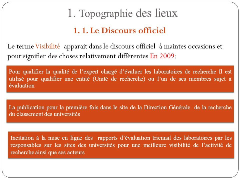 1. Topographie des lieux Le terme Visibilité apparait dans le discours officiel à maintes occasions et pour signifier des choses relativement différen