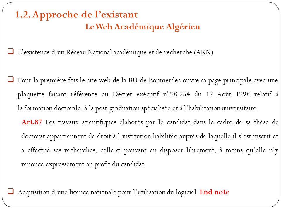 1.2. Approche de lexistant Le Web Académique Algérien Lexistence dun Réseau National académique et de recherche (ARN) Pour la première fois le site we