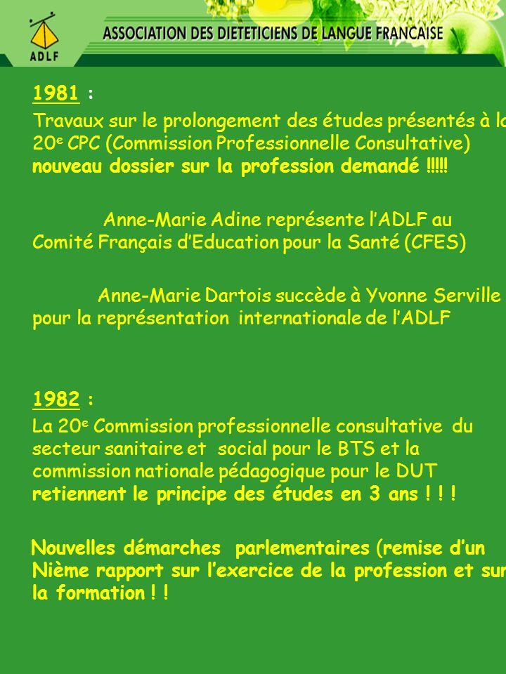 1981 : Travaux sur le prolongement des études présentés à la 20 e CPC (Commission Professionnelle Consultative) nouveau dossier sur la profession dema