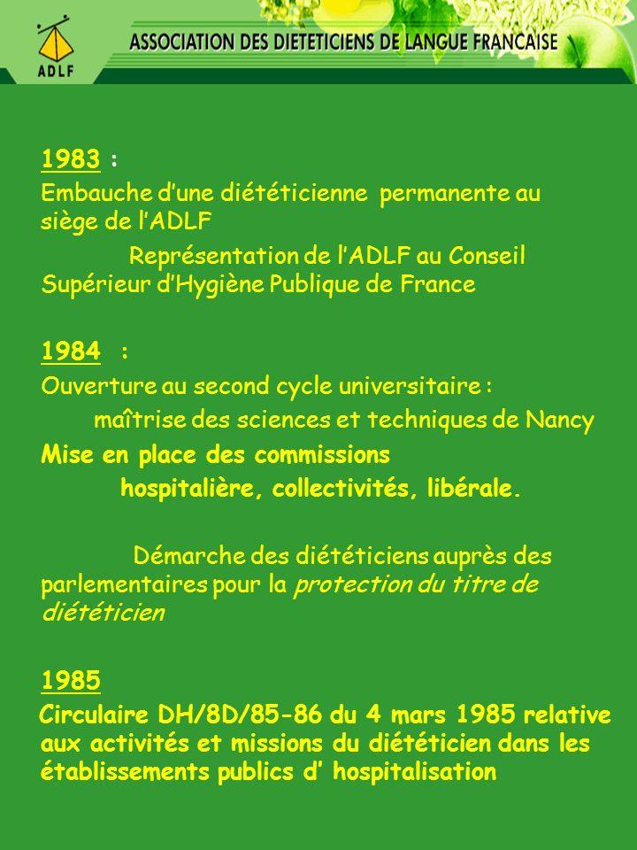 1983 : Embauche dune diététicienne permanente au siège de lADLF Représentation de lADLF au Conseil Supérieur dHygiène Publique de France 1984 : Ouvert