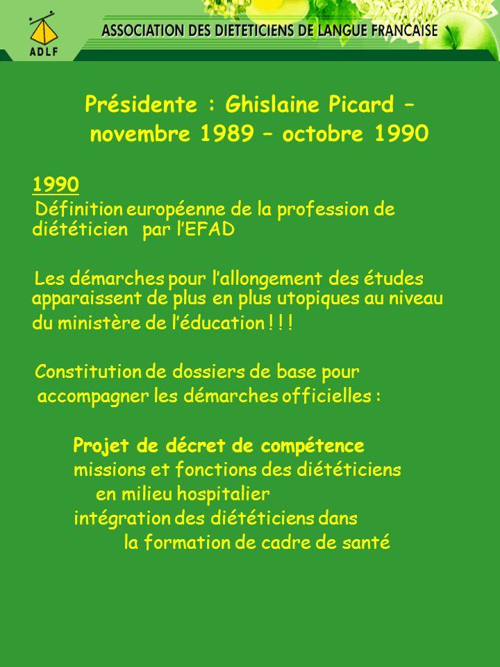 Présidente : Ghislaine Picard – novembre 1989 – octobre 1990 1990 Définition européenne de la profession de diététicien par lEFAD Les démarches pour l