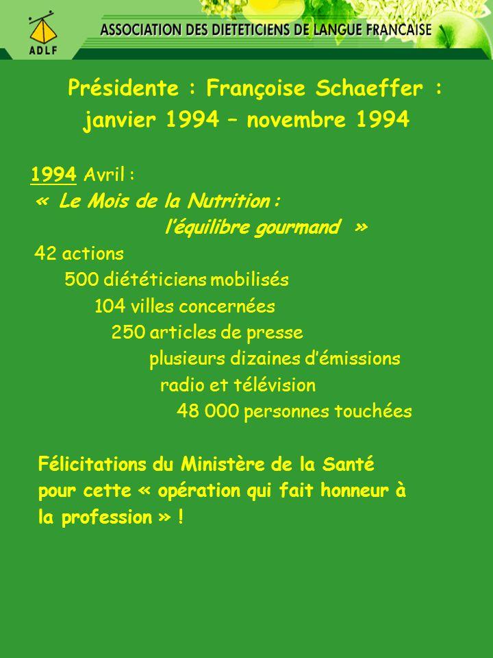 Présidente : Françoise Schaeffer : janvier 1994 – novembre 1994 1994 Avril : « Le Mois de la Nutrition : léquilibre gourmand » 42 actions 500 diététic