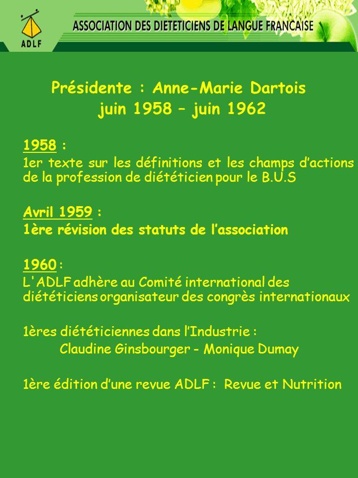 Présidente : Anne-Marie Dartois juin 1958 – juin 1962 1958 : 1er texte sur les définitions et les champs dactions de la profession de diététicien pour