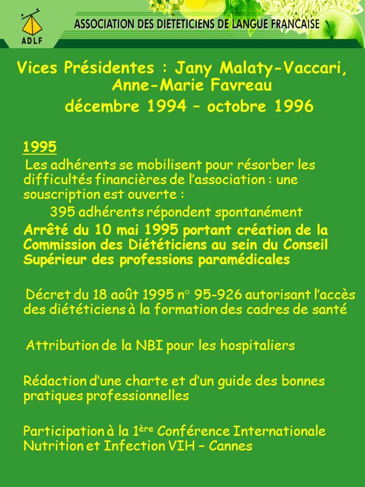 Vices Présidentes : Jany Malaty-Vaccari, Anne-Marie Favreau décembre 1994 – octobre 1996 1995 Les adhérents se mobilisent pour résorber les difficulté