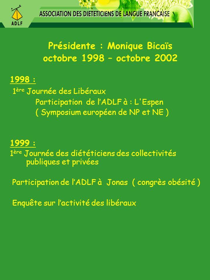 Présidente : Monique Bicaïs octobre 1998 – octobre 2002 1998 : 1 ère Journée des Libéraux Participation de lADLF à : L'Espen ( Symposium européen de N