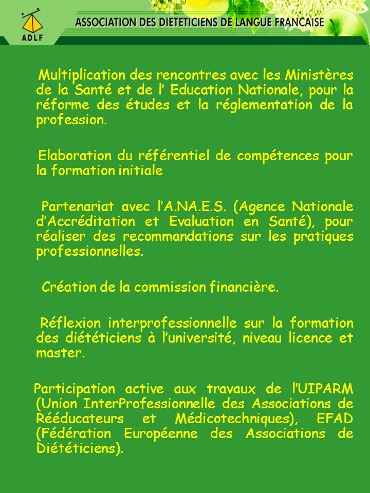 Multiplication des rencontres avec les Ministères de la Santé et de l Education Nationale, pour la réforme des études et la réglementation de la profe