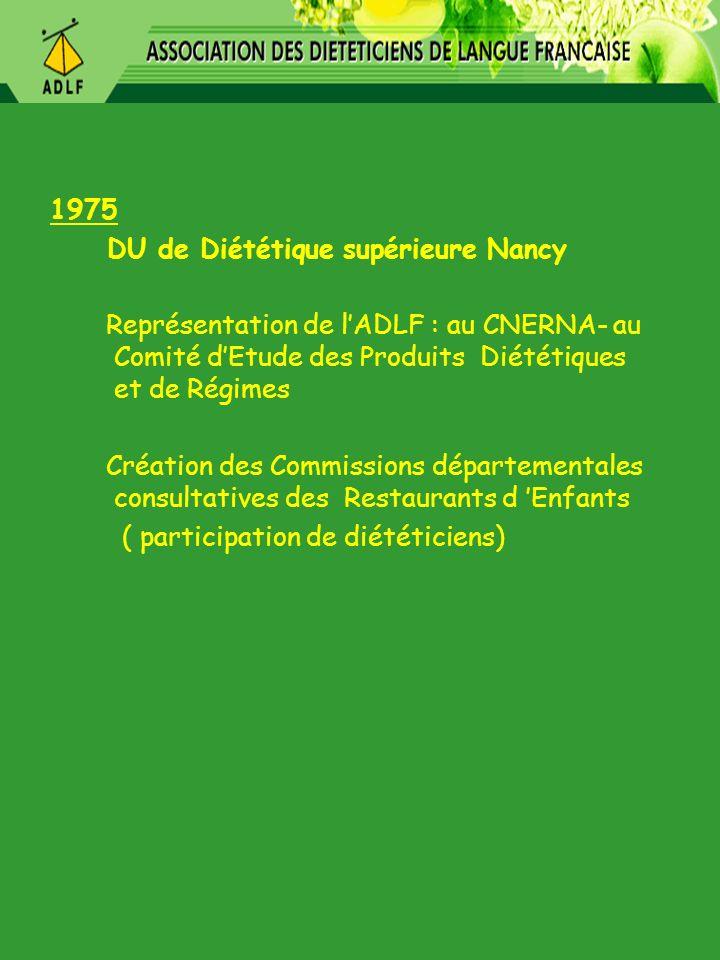 1975 DU de Diététique supérieure Nancy Représentation de lADLF : au CNERNA- au Comité dEtude des Produits Diététiques et de Régimes Création des Commi