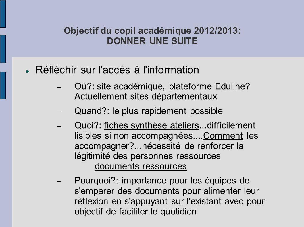 Objectif du copil académique 2012/2013: DONNER UNE SUITE Réfléchir sur l'accès à l'information Où?: site académique, plateforme Eduline? Actuellement
