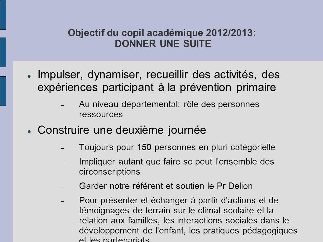 Objectif du copil académique 2012/2013: DONNER UNE SUITE Impulser, dynamiser, recueillir des activités, des expériences participant à la prévention pr