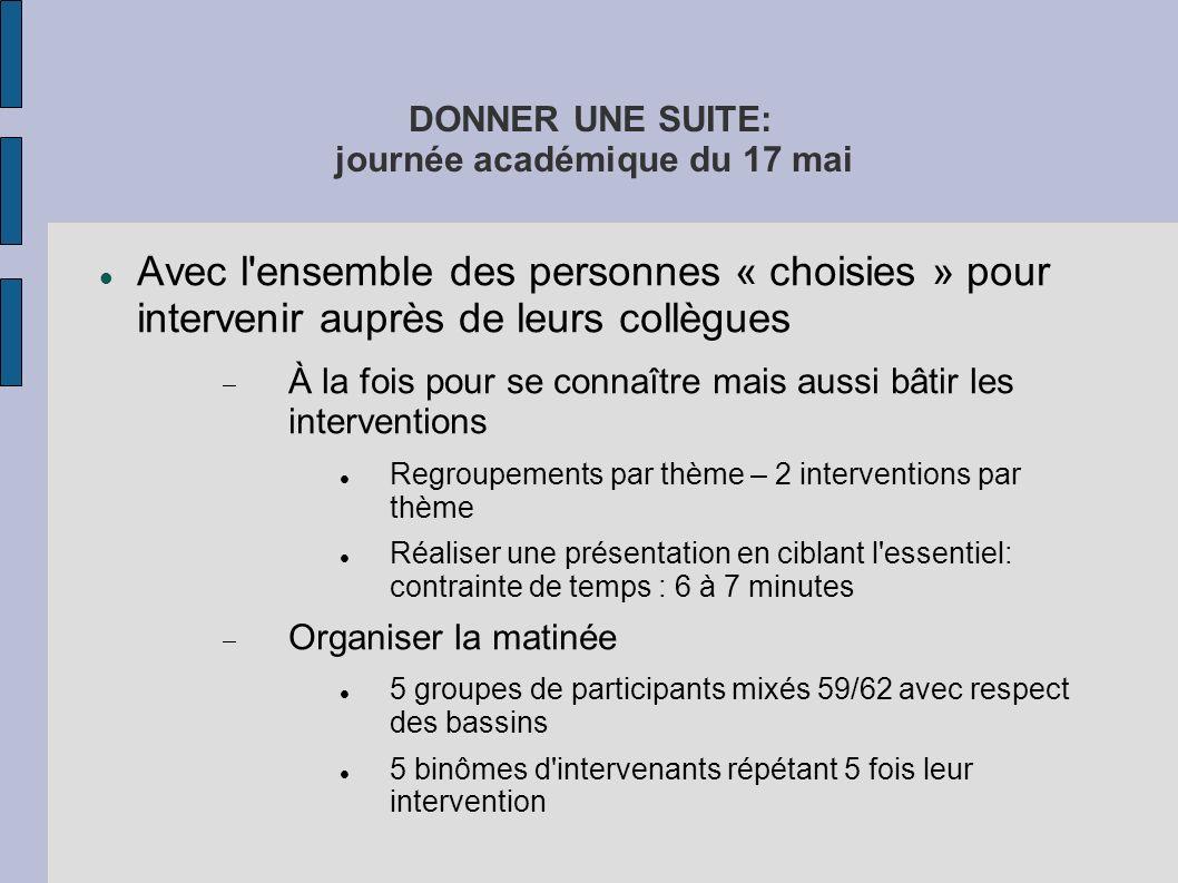 DONNER UNE SUITE: journée académique du 17 mai Avec l'ensemble des personnes « choisies » pour intervenir auprès de leurs collègues À la fois pour se