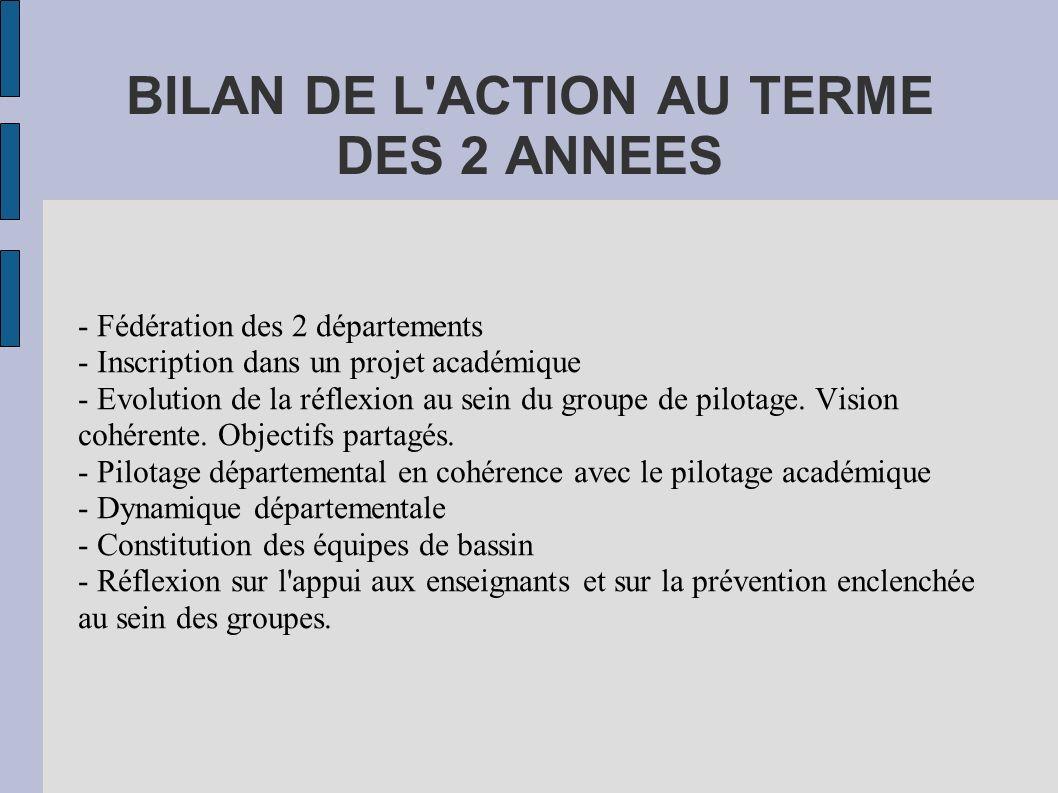 BILAN DE L ACTION AU TERME DES 2 ANNEES - Fédération des 2 départements - Inscription dans un projet académique - Evolution de la réflexion au sein du groupe de pilotage.
