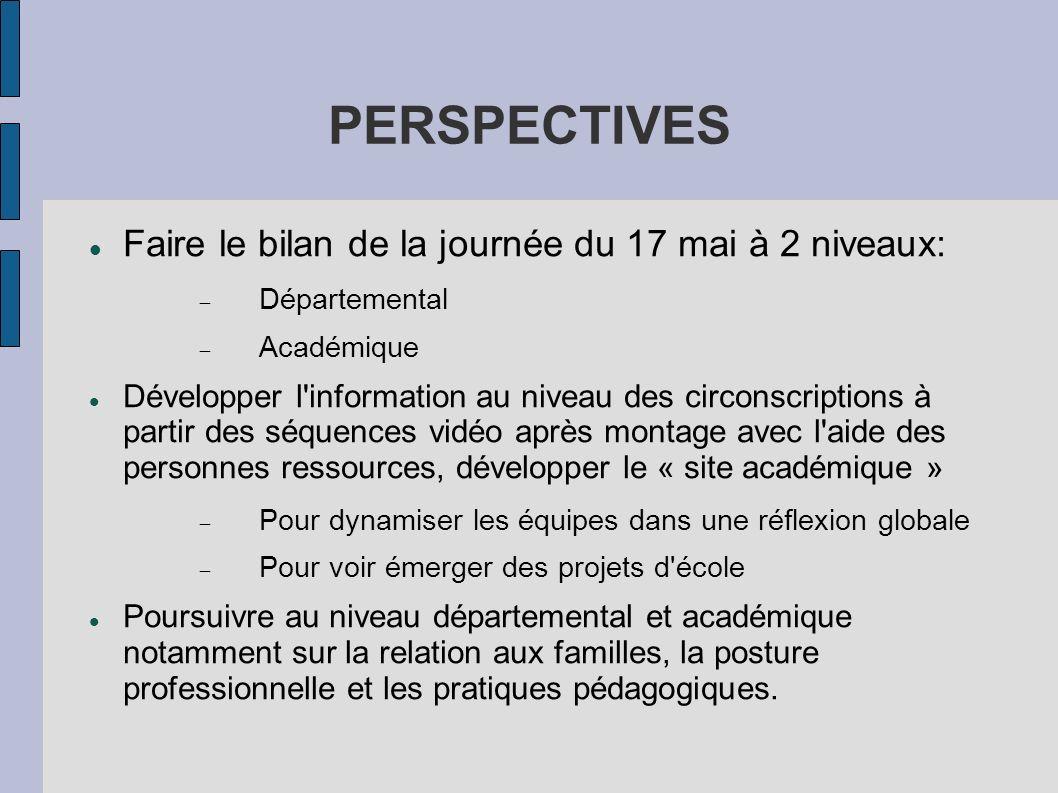 PERSPECTIVES Faire le bilan de la journée du 17 mai à 2 niveaux: Départemental Académique Développer l'information au niveau des circonscriptions à pa