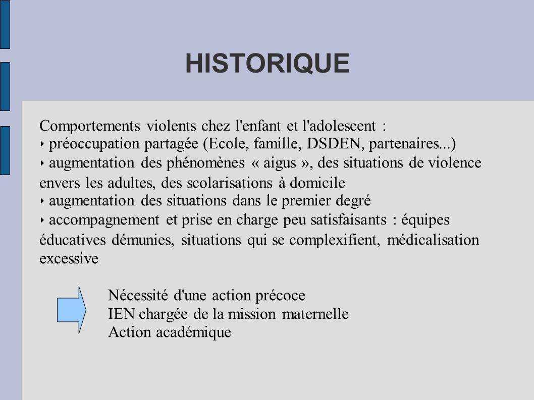 HISTORIQUE Comportements violents chez l'enfant et l'adolescent : préoccupation partagée (Ecole, famille, DSDEN, partenaires...) augmentation des phén