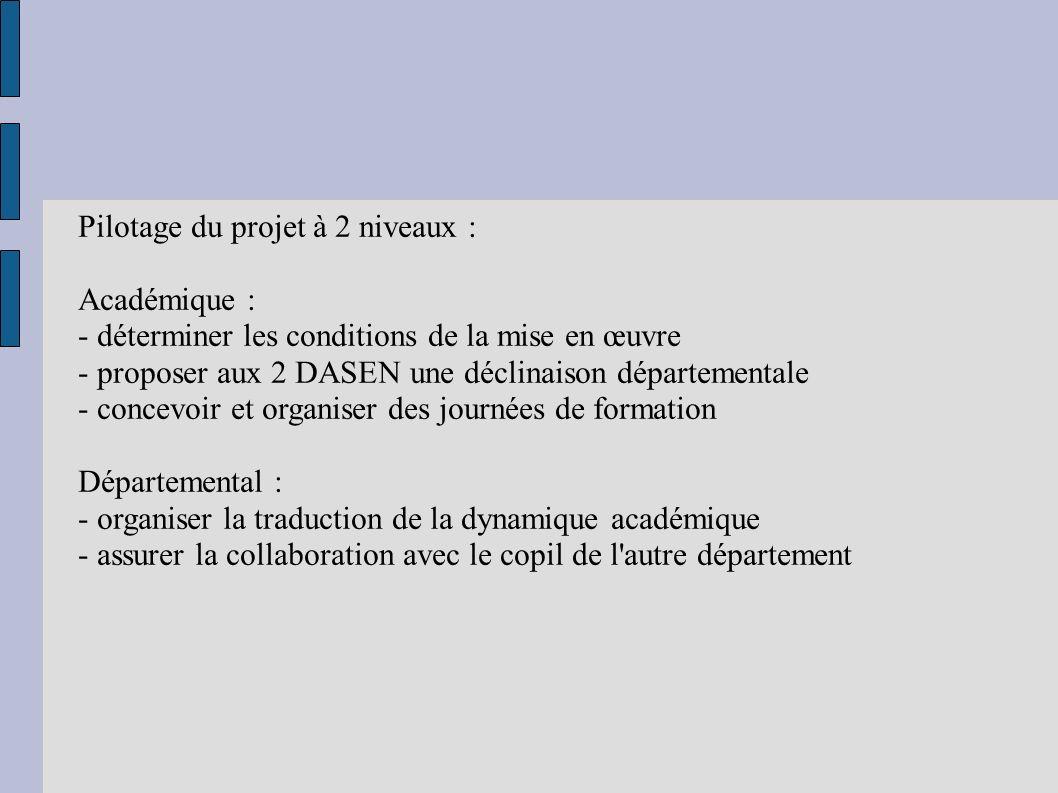 Pilotage du projet à 2 niveaux : Académique : - déterminer les conditions de la mise en œuvre - proposer aux 2 DASEN une déclinaison départementale -