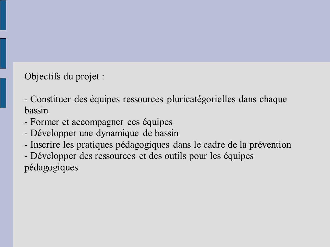 Objectifs du projet : - Constituer des équipes ressources pluricatégorielles dans chaque bassin - Former et accompagner ces équipes - Développer une d