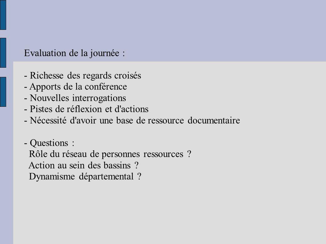 Evaluation de la journée : - Richesse des regards croisés - Apports de la conférence - Nouvelles interrogations - Pistes de réflexion et d actions - Nécessité d avoir une base de ressource documentaire - Questions : Rôle du réseau de personnes ressources .