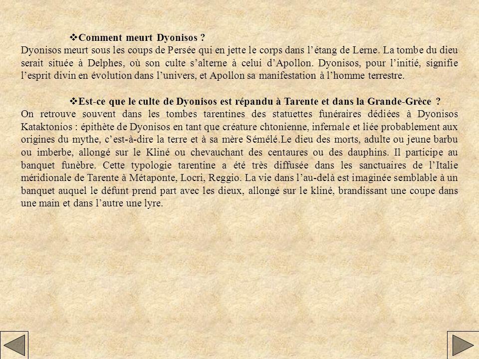 Comment meurt Dyonisos ? Dyonisos meurt sous les coups de Persée qui en jette le corps dans létang de Lerne. La tombe du dieu serait située à Delphes,
