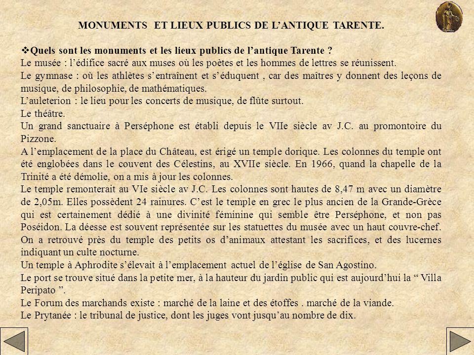 MONUMENTS ET LIEUX PUBLICS DE LANTIQUE TARENTE. Quels sont les monuments et les lieux publics de lantique Tarente ? Le musée : lédifice sacré aux muse