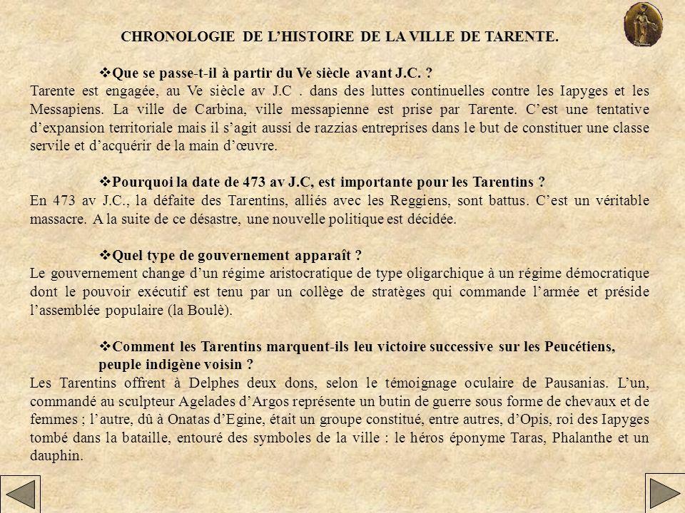 CHRONOLOGIE DE LHISTOIRE DE LA VILLE DE TARENTE. Que se passe-t-il à partir du Ve siècle avant J.C. ? Tarente est engagée, au Ve siècle av J.C. dans d