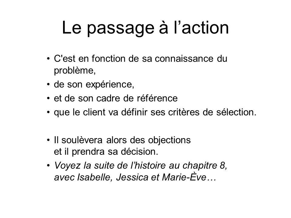 Le passage à laction C'est en fonction de sa connaissance du problème, de son expérience, et de son cadre de référence que le client va définir ses cr