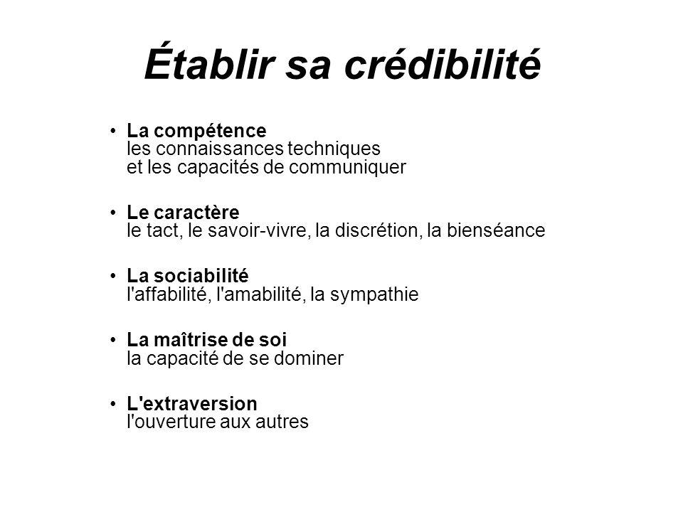 Établir sa crédibilité La compétence les connaissances techniques et les capacités de communiquer Le caractère le tact, le savoir-vivre, la discrétion