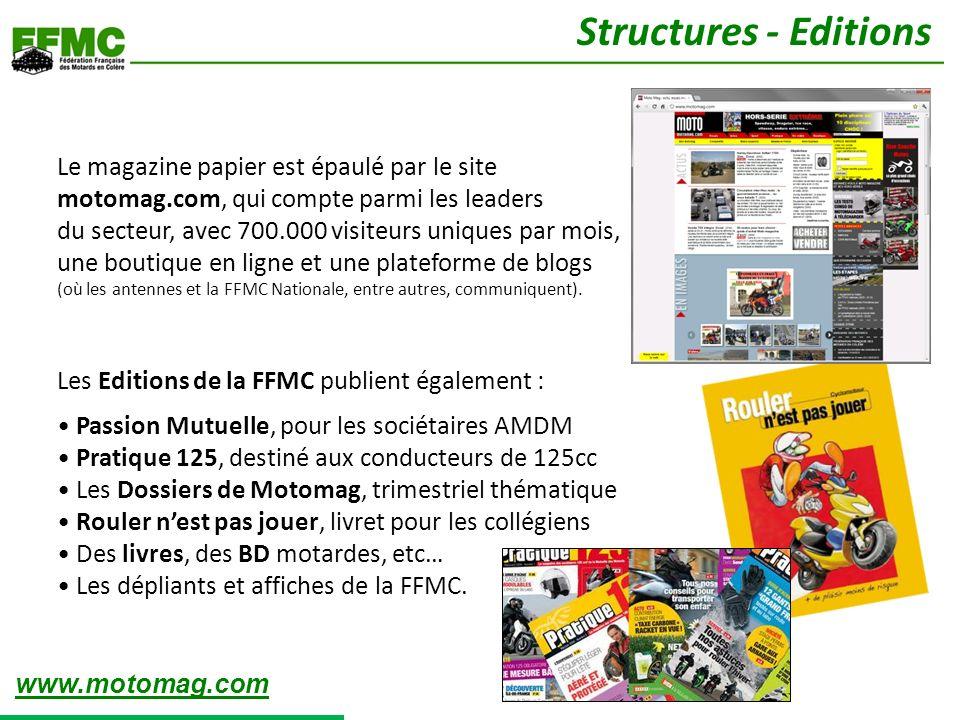 Le magazine papier est épaulé par le site motomag.com, qui compte parmi les leaders du secteur, avec 700.000 visiteurs uniques par mois, une boutique en ligne et une plateforme de blogs (où les antennes et la FFMC Nationale, entre autres, communiquent).