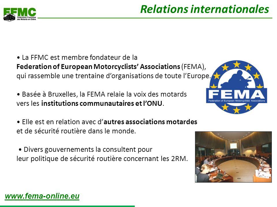La FFMC est membre fondateur de la Federation of European Motorcyclists Associations (FEMA), qui rassemble une trentaine dorganisations de toute lEurope.