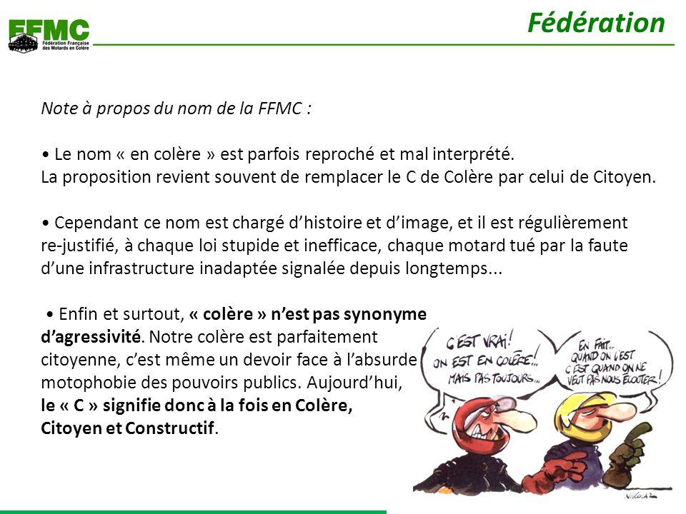 Note à propos du nom de la FFMC : Le nom « en colère » est parfois reproché et mal interprété.