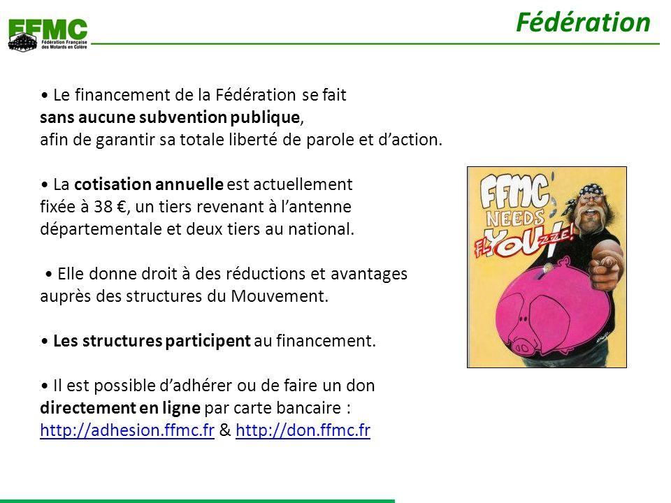 Le financement de la Fédération se fait sans aucune subvention publique, afin de garantir sa totale liberté de parole et daction.