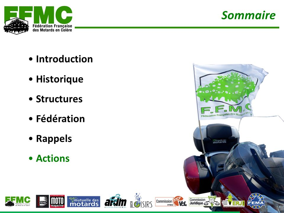 Introduction Historique Structures Fédération Rappels Actions Sommaire