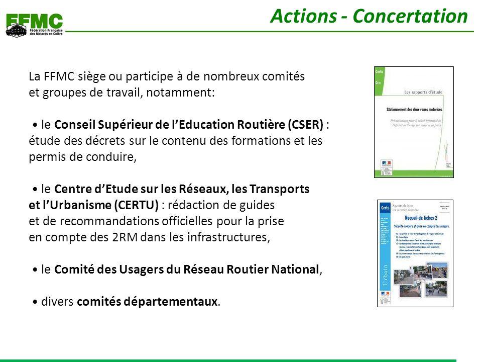 La FFMC siège ou participe à de nombreux comités et groupes de travail, notamment: le Conseil Supérieur de lEducation Routière (CSER) : étude des décr