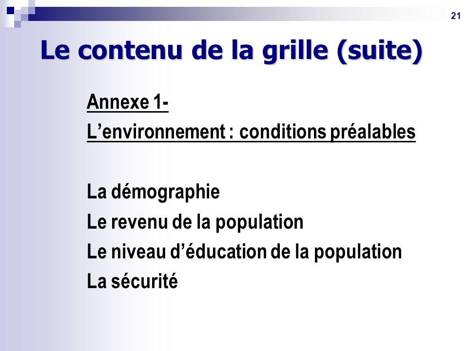21 Le contenu de la grille (suite) Annexe 1- Lenvironnement : conditions préalables La démographie Le revenu de la population Le niveau déducation de la population La sécurité