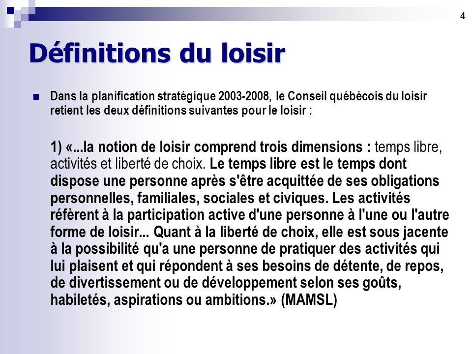 4 Définitions du loisir Dans la planification stratégique 2003-2008, le Conseil québécois du loisir retient les deux définitions suivantes pour le loisir : 1) «...la notion de loisir comprend trois dimensions : temps libre, activités et liberté de choix.