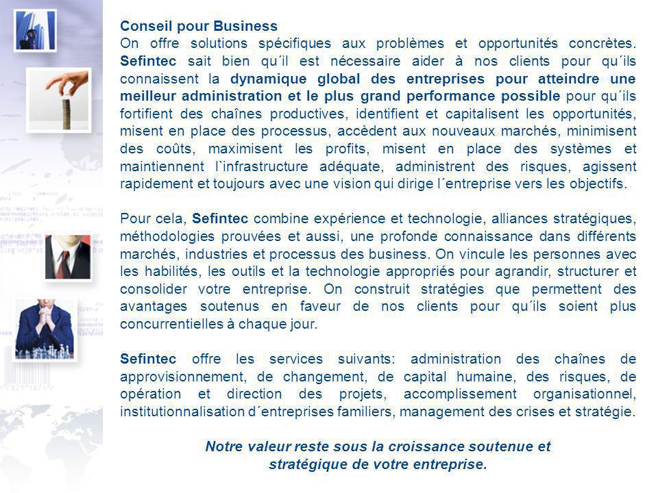 Conseil pour Business On offre solutions spécifiques aux problèmes et opportunités concrètes.