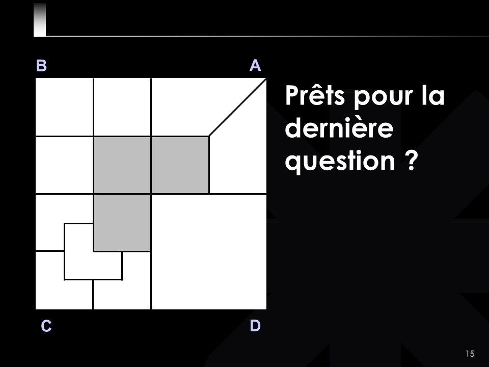 15 B A D C Prêts pour la dernière question