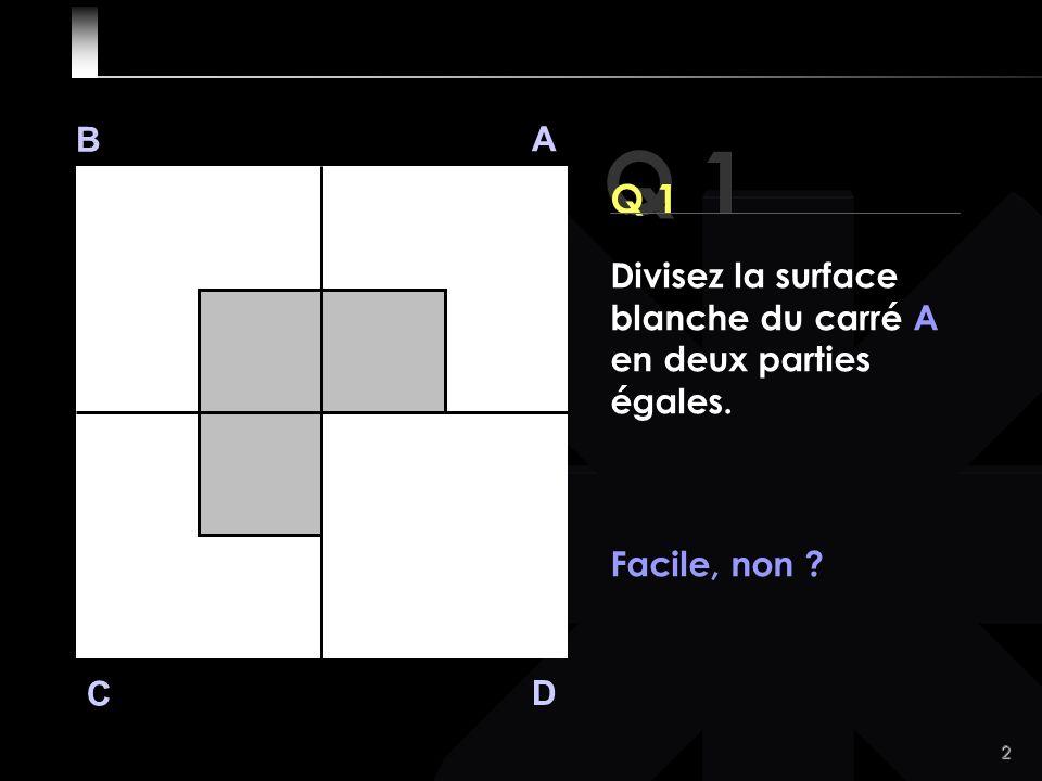 2 Q 1 B A D C Divisez la surface blanche du carré A en deux parties égales. Facile, non