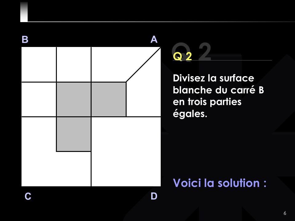 6 Q 2 B A D C Voici la solution : Divisez la surface blanche du carré B en trois parties égales.
